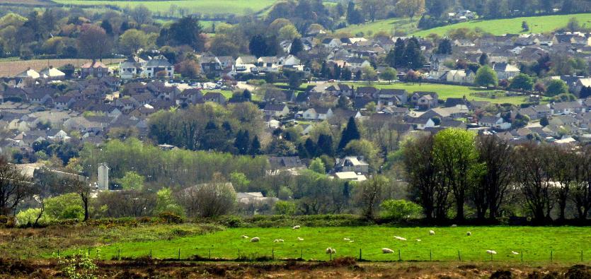 View over Callington, site of King Aurthur's Court
