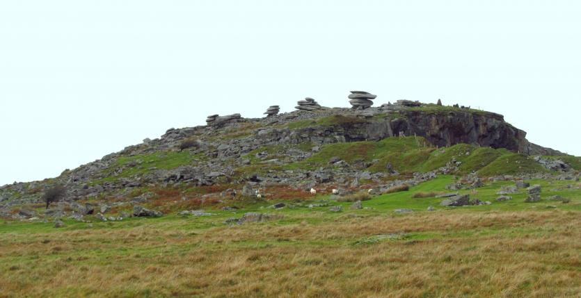 Cheesewring, a pile of granite rocks, on top of Stowes Hill