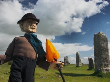 Bill Chubb puppet at the Hurlers stone circle