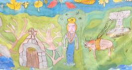St Cuby story silk painting